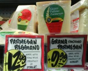 Trader Joes Cheese Case Parmesean Parmigiano Reggiano and Grana Padano Parmesean Cheeses
