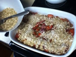 Prepping cobbler for baking