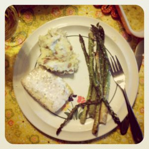 yummy close up asparagus trader joes mahi mahi mashed
