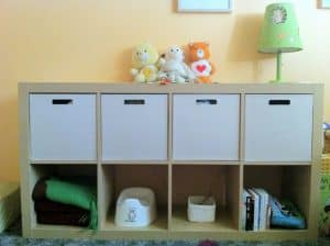 baby nursery ikea shelf