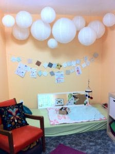 baby nursery chinese lanterns floorbed