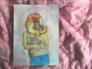 baboon mother child portrait
