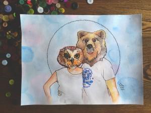 owl bear portrait spirit animal