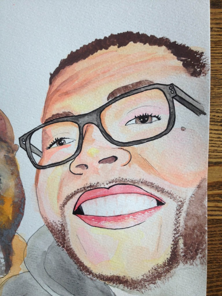 watercolor and ink close up glasses mole smiles