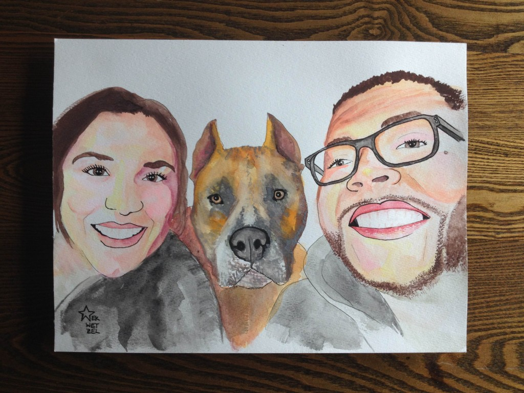 watercolor ink portrait glasses family puppy love