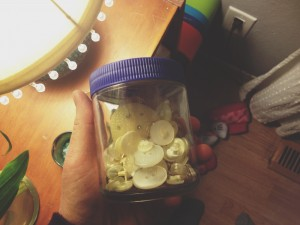 THe jar of buttons we used for raindrops
