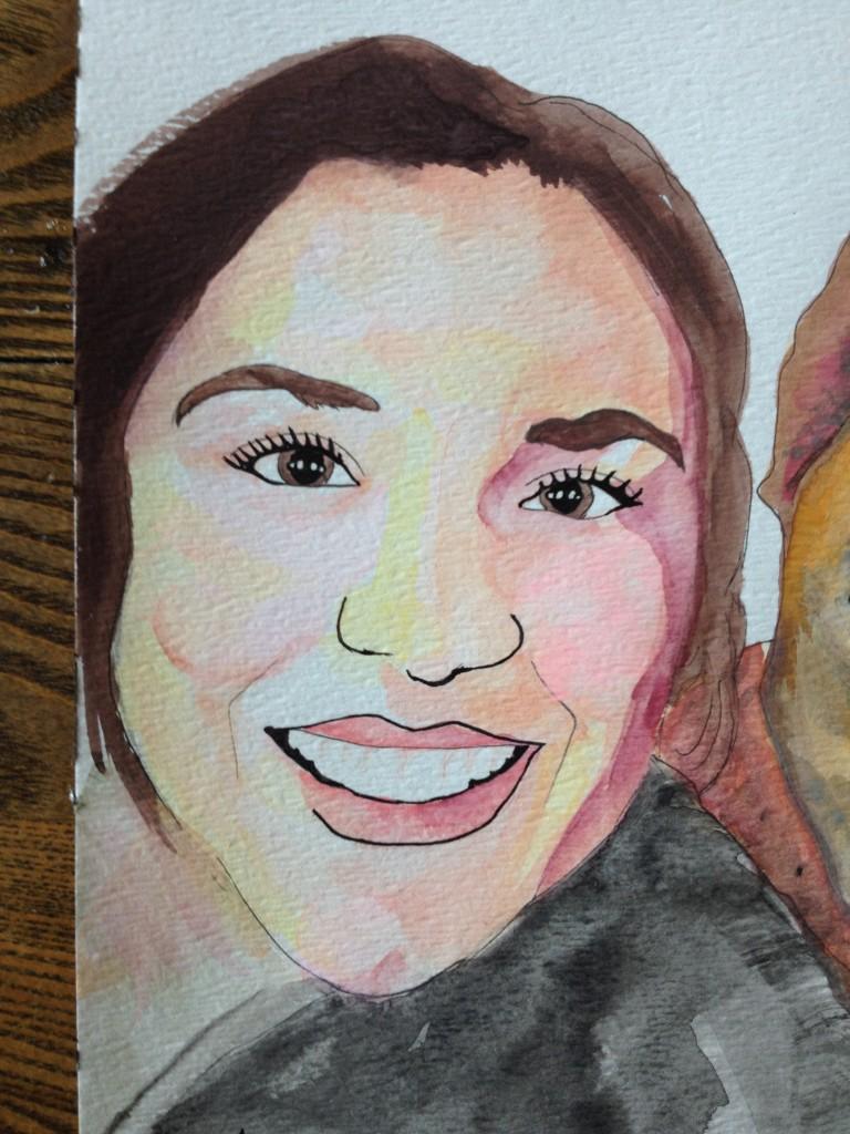 watercolor ink portrait woman's face