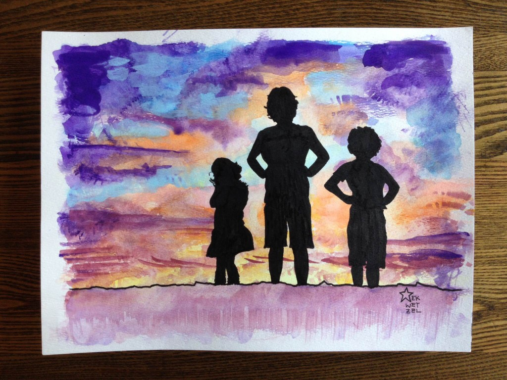 kids silhouetted on the sunset watercolor painting
