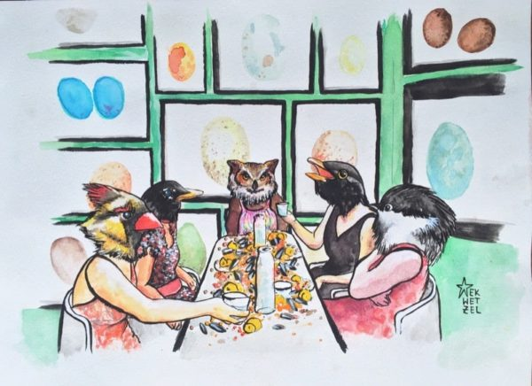 birds at table